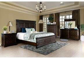 Minerva Collection CM783CKBDMCN 5-Piece Bedroom Set with California King Bed, Dresser, Mirror, Chest and Nightstand in Walnut Finish