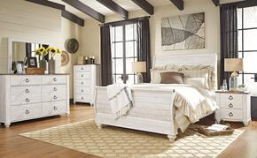 Willowton Queen Bedroom Set with Sleigh Bed, Dresser, Mirror, Single Nightstand and Chest in Whitewashed Color