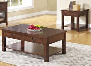 30706CE Corsica 2 Piece Occasional and Entertainment Table Set with Cocktail Table and End Table, in Chestnut