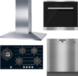 "4-Piece Stainless Steel Kitchen Package with KM3054LP 37"" Liquid Propane Cooktop, DA3906 40"" Mount Ducted Hood, H6680BP 30"" Single Wall Oven, and G4948UCLST 24"" Full Console Dishwasher"