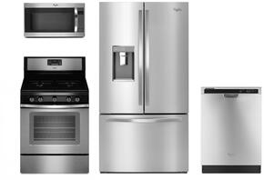 "4 Piece Kitchen package With WFG530S0ES 30"" Gas Range, WMH32519FS Over The Range Microwave, WRF993FIFM 36"" French Door Refrigerator and WDF520PADM 24"" Built In Dishwasher In Stainless Steel"