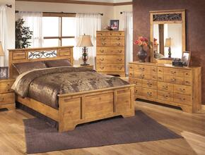 Bittersweet Queen Bedroom Set with Panel Bed, Dresser, Mirror and Chest in Light Brown
