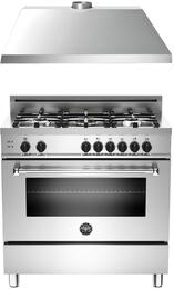 "2-Piece Stainless Steel Kitchen Package with MAS365GASXE 36"" Freestanding Gas Range and KU36PRO1XV 36"" Range Hood"