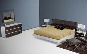 VGWCSW-B01QDMN Modrest Anzio Floating Queen Size Bed + Dresser + Mirror + 2 Nightstands in Brown Oak