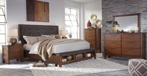 Ralene Queen Bedroom Set with Panel Bed, Dresser, Mirror, 2x Nightstands and Chest in Medium Brown