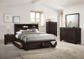 Madison II Collection 19557EKSET 5 PC Bedroom Set with King Size Bed + Dresser + Mirror + Chest + Nightstand in Espresso Finish