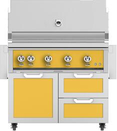 "42"" Freestanding Natural Gas Grill with GCR42YW Tower Grill Cart with Double Drawer and Door Combo, in Sol  Yellow"