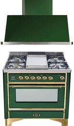"2-Piece Emerald Green Kitchen Package with UM90FDVGGVS 36"" Freestanding Gas Range (Brass Trim, 4 Burners, Griddle) and UAM90VS 36"" Wall Mount Range Hood"