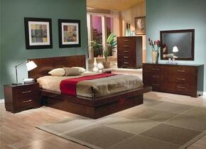 Jessica Collection 200711QSET 6 PC Bedroom Set with Queen Size Bed + Dresser + Mirror + Chest + 2 Nightstands in Cappuccino Finish
