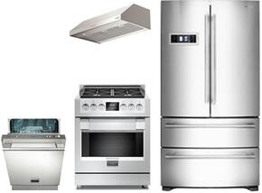 """4-Piece Stainless Steel Kitchen Package with FM36CDFDS1 36"""" French Door Refrigerator, F6PGR304S1 30"""" Freestanding Gas Range, F4UC30S1 30"""" Range Hood, and F6PDW24SS1 24"""" Fully Integrated Dishwasher"""
