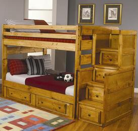 460096SCSD Wrangle Hill Full Over Full Bunk Bed + Stairway Chest + Storage Drawers in Amber Wash Finish