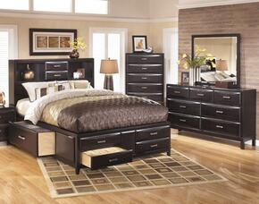 Kira 3-Piece Bedroom Set with King Size Storage Bed, Dresser and Mirror in Black