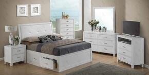 G1275BTSBNTV 3 Piece Set including Twin Size Bed, Nightstand and Media  in White