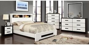 Rutger Collection CM7297QBDMCN 5-Piece Bedroom Set with Queen Bed, Dresser, Mirror, Chest and Nightstand in White Finish