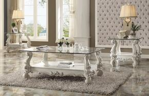 Versailles 82103C2E 3 PC Living Room Table Set with Coffee Table + 2 End Tables in Bone White Finish