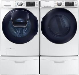 "Front Load Laundry Pair with WF50K7500AW 27"" Front Load Washer and DV50K7500GW 27"" Gas Dryer and WE357A0W X2 Pedestals in White"