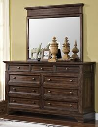00-186-050-00-186-060 Grandview Nine Drawer Dresser with Mirror, in Brown