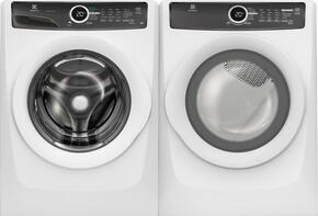 "White Front-Load Laundry Pair with  EFLW417SIW 27""  Washer and EFMG417SIW 27"" Gas Dryer"