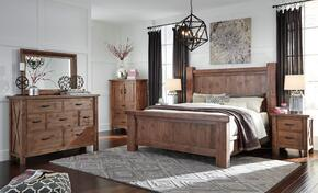 Tamilo Queen Bedroom Set with Poster Bed, Dresser, Mirror, Nightstand and Chest in Greyish Brown Finish