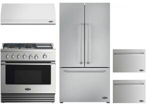 "4 Piece Kitchen Package With RDV2364GDN 36"" Dual Fuel Freestanding Range, ES36 36"" Wall Mount Hood, RF201ACJSX1 36"" Built In French Door Refrigerator and two DD24SV2T7 24"" Dishwasher Drawers in Stainless Steel"