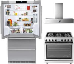 "3 Piece Kitchen Package With CBS2062 36"" french Door Refrigerator, RN483GCSS 48"" Gas Freestanding Range and MAES48SS 48"" Range Hood in Stainless Steel"