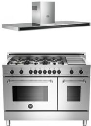 "Stainless Steel 2-Piece Kitchen Package With PRO486GDFSXLP 48"" Professional Series Dual Fuel Freestanding Range and KG48CONX 48"" Wall Mount Range Hood"