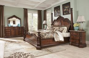 Ledelle Collection 4-Piece Bedroom Set with Queen Size Poster Bed, Dresser, Mirror and Nightstand in Dark Cherry