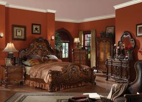 12137EKDMN Dresden King-Size Traditional Bed + Dresser + Mirror + 2 Nightstands in Cherry Oak