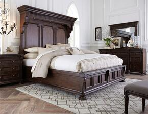 Lyla 4912KMBNDMS 5-Piece Bedroom Set with King Mansion Bed, Night Chest, Dresser, Landscape Mirror and Stool in Brown