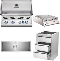 """4-Piece Stainless Steel Kitchen Package with BIPRO500RBNSS2 31"""" Natural Gas Grill, BISZ300NFT 20"""" Side Burner, N3700358SS1 Double Access Door, and IM2DC 24"""" Storage Drawer"""