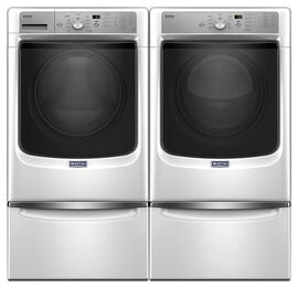 "White Front Load Laundry Pair with MHW5500FW 27"" Washer, MED5500FW 27"" Electric Dryer and 2 XHPC155XW Pedestals"