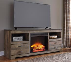 Trinell W446TVS01F 2-Piece Set with TV Stand and W100-01 Fireplace Insert in Brown