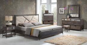 Adrianna Collection 20944CKSET 7 PC Bedroom Set with California King Size Bed + Dresser + Mirror + Chest + Nightstand + Dresser Baskets in in Walnut Finish