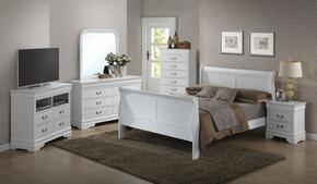 G3190AFBSET 6 PC Bedroom Set with Full Size Sleigh Bed + Dresser + Mirror + Chest + Nightstand + Media Chest in White Finish