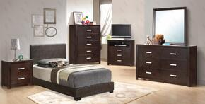 G1800TBUPSET 6 PC Bedroom Set Twin Size Panel Bed + Dresser + Mirror + Chest + Nightstand + Media Chest in Cappuccino Color