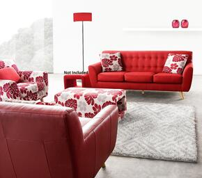 Scarlett SCARLETTSORESETA 4 PC Living Room Set with Sofa + PU Leather Accent Chair + Floral Accent Chair + Floral Ottoman in Rouge Red Color
