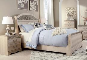 Catalina Queen Bedroom Set with Sleigh Bed and Nightstand in Antique White
