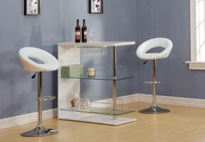 Valdin 71300T2S 3 PC Bar Table Set with Bar Table + 2 Swivel Stools in White and Chrome Finish