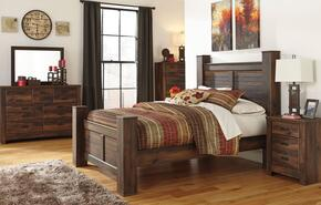 Quinden Queen Bedroom Set with Poster Bed, Dresser, Mirror, Nightstand and Chest in Dark Brown