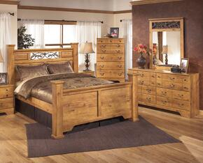 Bittersweet Queen Bedroom Set with Poster Bed, Dresser, Mirror and Chest in Light Wood