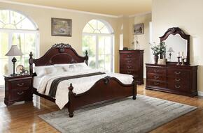 21857EK5PCSET Gwyneth E. King Size Bed + Dresser + Mirror + Nightstand + Chest in Cherry Finish