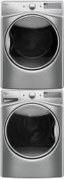 "Diamond Steel Front Load Laundry Pair with WFW92HEFU 27"" Washer, WGD92HEFU 27"" Gas Dryer and W10869845 Stacking Kit"