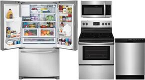 "4-Piece Kitchen Stainless Steel Package With FFHB2750TS 30"" French Door Refrigerator, FFEF3052TS 30"" Electric Freestanding Range, FFMV1645TS 30"" Over-the-Range Microwave, and FFBD2412SS 24"" Built In Dishwasher"