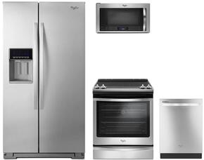 "4-Piece Kitchen Package with MFI2570FEZ 36"" Side by Side Refrigerator, WEE745H0FS 30"" Electric Range, WMH76719CS 30"" Over The Range Microwave oven and WDT720PADM 24"" Built in Dishwasher in Stainless Steel"