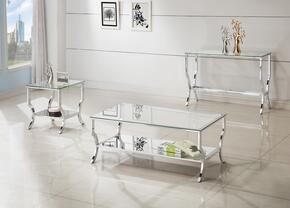 Ocassionals Table 720338CSE 3 PC Living Room Table Set with Coffee Table + Sofa Table + End Table in Chrome Finish