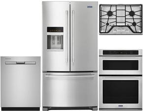 "4 Piece Kitchen Package With MGC7430DS 30"" Gas Cooktop, MMW9730FZ Electric Double Wall Oven, MFI2570FEZ 36"" French Door Refrigerator and MDB4949SDZ 24"" Built In Dishwasher In Stainless Steel"