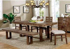 Lidgerwood Collection CM3358T4SCBN 7-Piece Dining Room Set with Rectangular Table, 4 Side Chairs and Bench in Natural Tone Finish