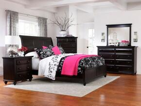 Farnsworth Collection 6 Piece Bedroom Set With Queen Size Sleigh Bed + 2 Nightstands + Dresser + Drawer Chest + Mirror: Black
