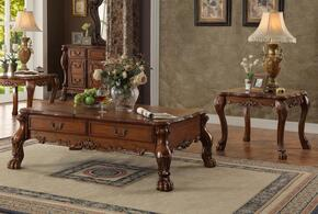 Dresden 82095C2E 3 PC Living Room Table Set with Coffee Table + 2 End Tables in Cherry Oak Finish