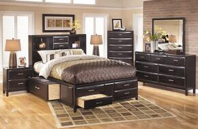 Kira 4-Piece Bedroom Set with Queen Size Storage Bed, Dresser, Mirror and Nightstand in Black